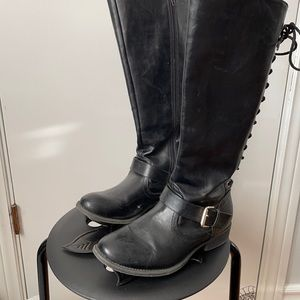 Tall black lace up pleather buckle boots
